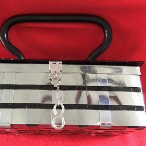 Handbags - Vintage Chrome Basketweave Box Purse